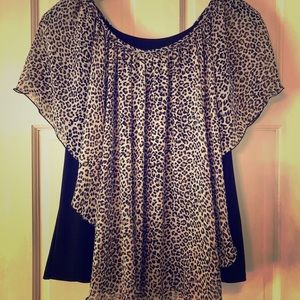 Leopard print dress blouse